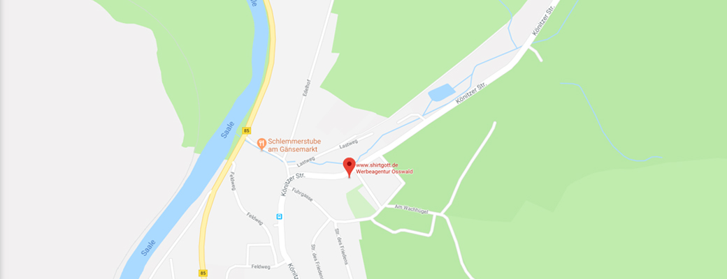 Werbeagentur Osswald Standort Karte 07338 Kausldorf Thüringen Saalfeld Rudolstadt